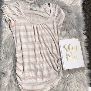 Beige and Cream Striped Short Sleeve